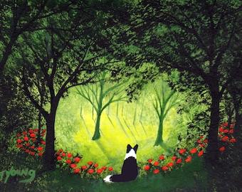 Border Collie Dog Outsider Folk Art PRINT Todd Young FOREVER