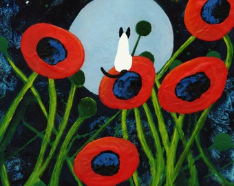 Siamese Cat outsider folk art print by Todd Young Giant Poppies