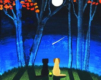 Black Yellow Lab Dog folk Art print by Todd Young AUTUMN MOON