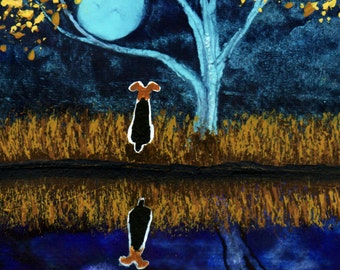 Wire Fox Terrier Dog Autumn Folk Art print by Todd Young REFLECTION
