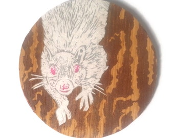 Round White Squirrel Linocut on Wood - Multimedia White Squirrel Lino Block Print on Paper and Wood - Small Circular Print