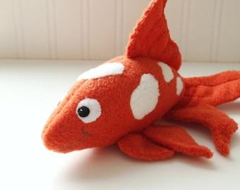 Handmade koi fish stuffed animal in red and white by for Koi fish plush