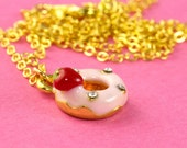 Strawberry Donut Necklace with Rhinestones - Pastel Pink and Red - Kawaii and Cute