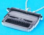Vintage Typewriter Necklace - Laser Cut Geeky Pendant