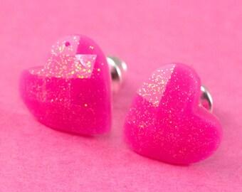 Small Glitter Heart Ear Posts - Neon Pink -  Sparkle Stud Earrings