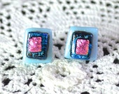 Fused Glass on Sterling Silver Post Stud Earrings - Soft Lilac-blue with Cerise Pink and Deep Blues - 10mm