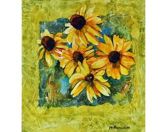 Black Eyed Susan Art, Yellow Flowers Paintings, Watercolor Floral Art, Kitchen Wall Art, Yellow and Black Flowers, Small Floral Watercolor