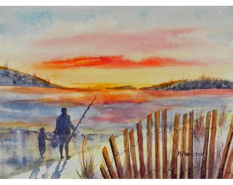Go Fish Beach Painting, Family Love, Watercolor Sunrise, Family Wall Art, Dad and Son, Fishing With Dad, Original Painting, Gift for Father
