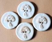 4 Handmade Stoneware Buttons -  Mushroom Buttons