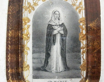 1930s French Glass Framed Ste Marie Holy Card