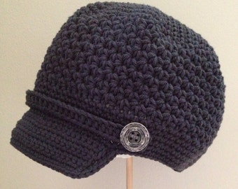 "Newsboy Hat Crocheted ""The Jeremy"" Charcoal Button Accents Visor Beanie Brimmed Hat"