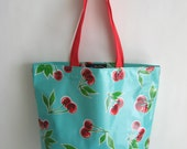 Tote Bag - Turquoise Cherry Oilcloth