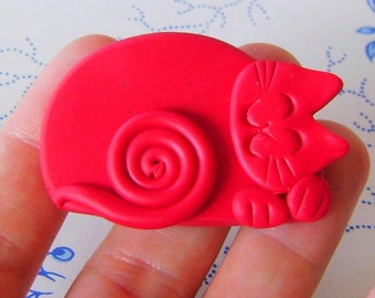 Polymer Clay Red Happy Sleeping Cat Brooch or Magnet