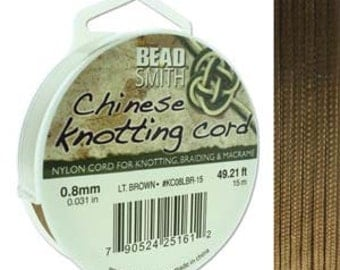 Beadsmith .8mm Chinese Knotting Cord 15M Light Brown 420621