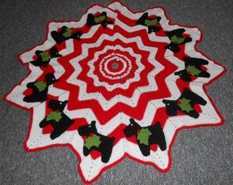 Crochet Pattern-Christmas Scottie Tree Skirt