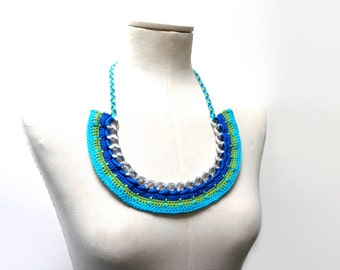 Crochet Chain Necklace Choker - Color Block Statement Necklace - silver metal chain and blue, turquoise, green cotton