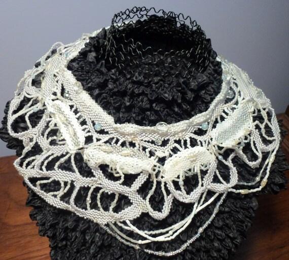 Original Handbeaded Freeform Style Elegant Collar Style Necklace Adds Unique Designer Touch, Stunning & Wedding Perfect