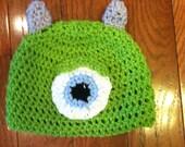 Mike Wazowski Monsters Inc Crochet Beanie Skullcap Hat--photo prop or costume idea-all sizes newborn through adult