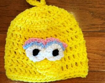 Big Bird Crochet Beanie Skullcap Hat-sizes newborn through adult-cute photo prop or costume idea