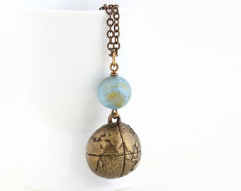 Traveler's Necklace - Globe Necklace - Gift For Explorer - World Necklace - Brass Globe and Blue and Gold Bead Charm Necklace