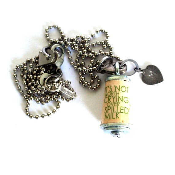 NO CRYING Over Spilled Milk, Necklace - Cork, Any Custom Stamped Initial, Typography, Chartreuse Letters, Life Lesson, Recycled - Uncorked