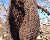 Chunky Hand Knit Infinity Scarf in Barley Ready to Ship