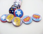 Super Hero Matching Game on metal or wood -  for school or play pow, zap, boom, star, super girl, super boy 1204