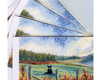 4 x Border Collie dog greeting cards - landscape panorama