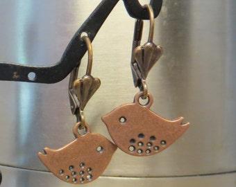 Copper Birdie Earrings