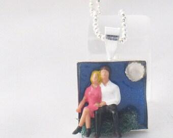 Under the Stars - little people couple square pendant