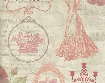 Buy 1 Get 1 FREE Vintage Paris Victorian Feminine Rose Ephemera Digital Collage INSTANT Download