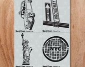 NYC 4 Pack Stencil-Reusable Craft &DIY Stencils- S1_4P_15 -8.5x11- By Stencil1
