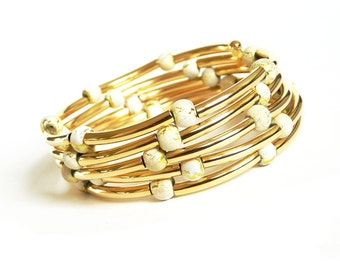 Gold Memory Wire Bracelet, Glass Beads Memory Wire Bracelet