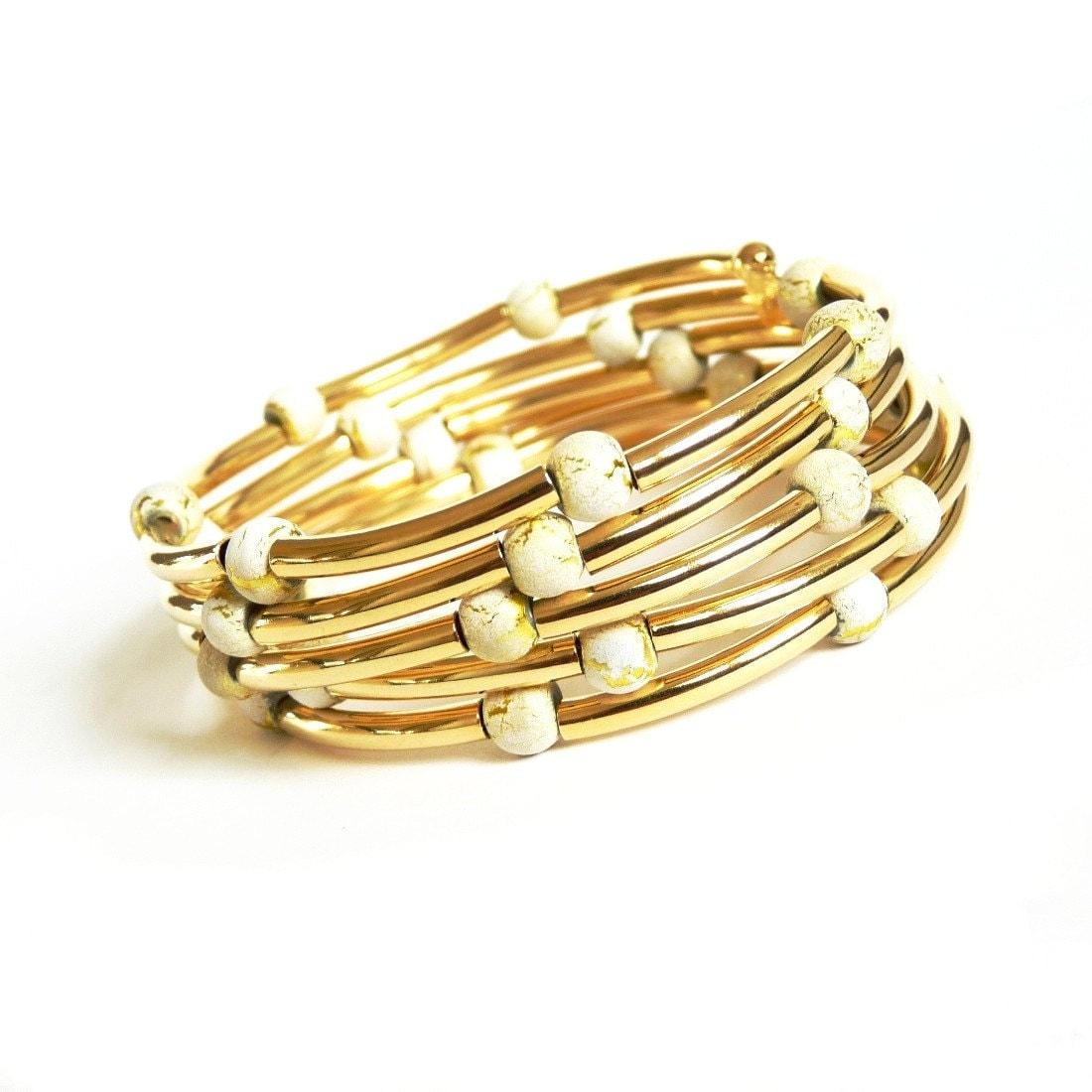 gold memory wire bracelet glass memory wire bracelet
