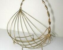 Mid Century Wire Fruit Basket Modern Design Gold Metal Centerpiece Boat Shaped
