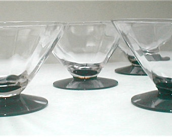7 Deco Dessert Cups Vintage 30s Depression Glass Triangular Bowl Dish Set Black Footed Cup
