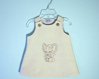 Hand appliqued newborn baby dress in size 0 to 3 months/ made from found and reclaimed materials/ One of a kind baby dress/ Eco wear