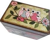 Recipe Box, Wood Recipe Box, Decoupaged Recipe Box, Owl Bird Box, Wedding Recipe Box, Bridal Shower Box, Holds 5x8 Cards, MADE TO ORDER