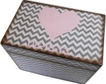 Recipe Box, Wood Recipe Box, Decoupaged Recipe Box, Chevron Heart Box, Wedding Recipe Box, Bridal Shower Box, Holds 4x6 Cards, MADE TO ORDER