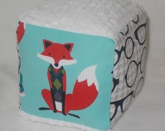 Aqua Fox Fabric Block Rattle