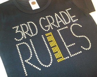 My Grade Rules with small ruler rhinestud tee by 1286 Kids