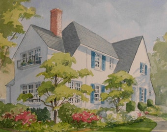 11x14 Custom Home Watercolor Portrait