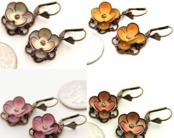 Beautiful Torch Fired Glass Enamel Flower Earrings