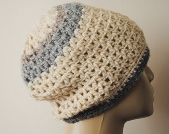 Crochet Hat Cream Gray Slouchy Beanie Beret Chunky for Women Teens Man Unisex Striped Hat