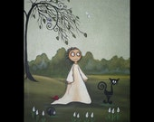 Whimsical Acrylic Creeper Art Painting - 9 x 12 -- A New Day - Black Cat - Hedgehog - Dragonfly - Owl - Calla Lillies