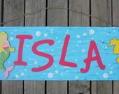 MERMAID Key West Personalized Sign - Hand Painted Wood - Large Size 14 X 36