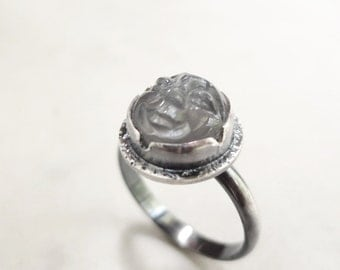 Moonstone ring,  gray gemstone, Sterling Silver,  Man in the Moon