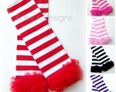 Baby Leg Warmers. Striped Legwarmers. Girls Candy Cane Red Ruffle Legwarmers. Purple Pink Black n White