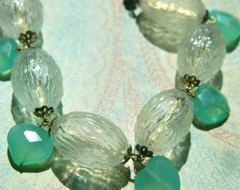 "Vintage Hollow Glass Bead Necklace with Chalcedony Faceted ""Hearts"" Czech Glass & Vintage Chain"