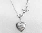 Silver Locket Necklace - Little HEART LOCKET - Miniature Locket - Daughter - Jewelry by BirdzNbeez - Wedding Birthday Bridesmaids Gift